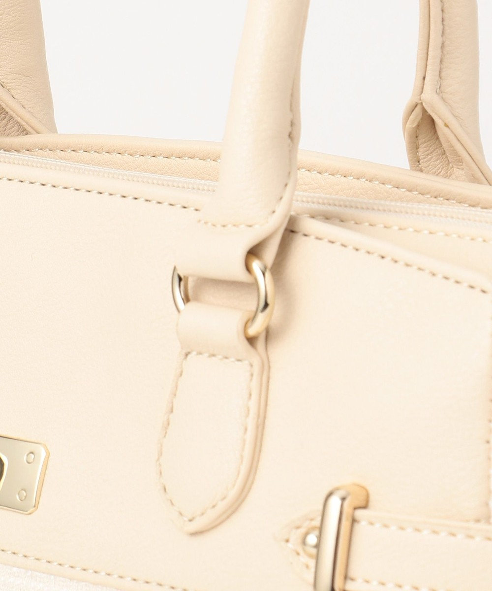 any SiS 【素材連動】リップルボーダーストレッチ ハンドバッグ ベージュ系1