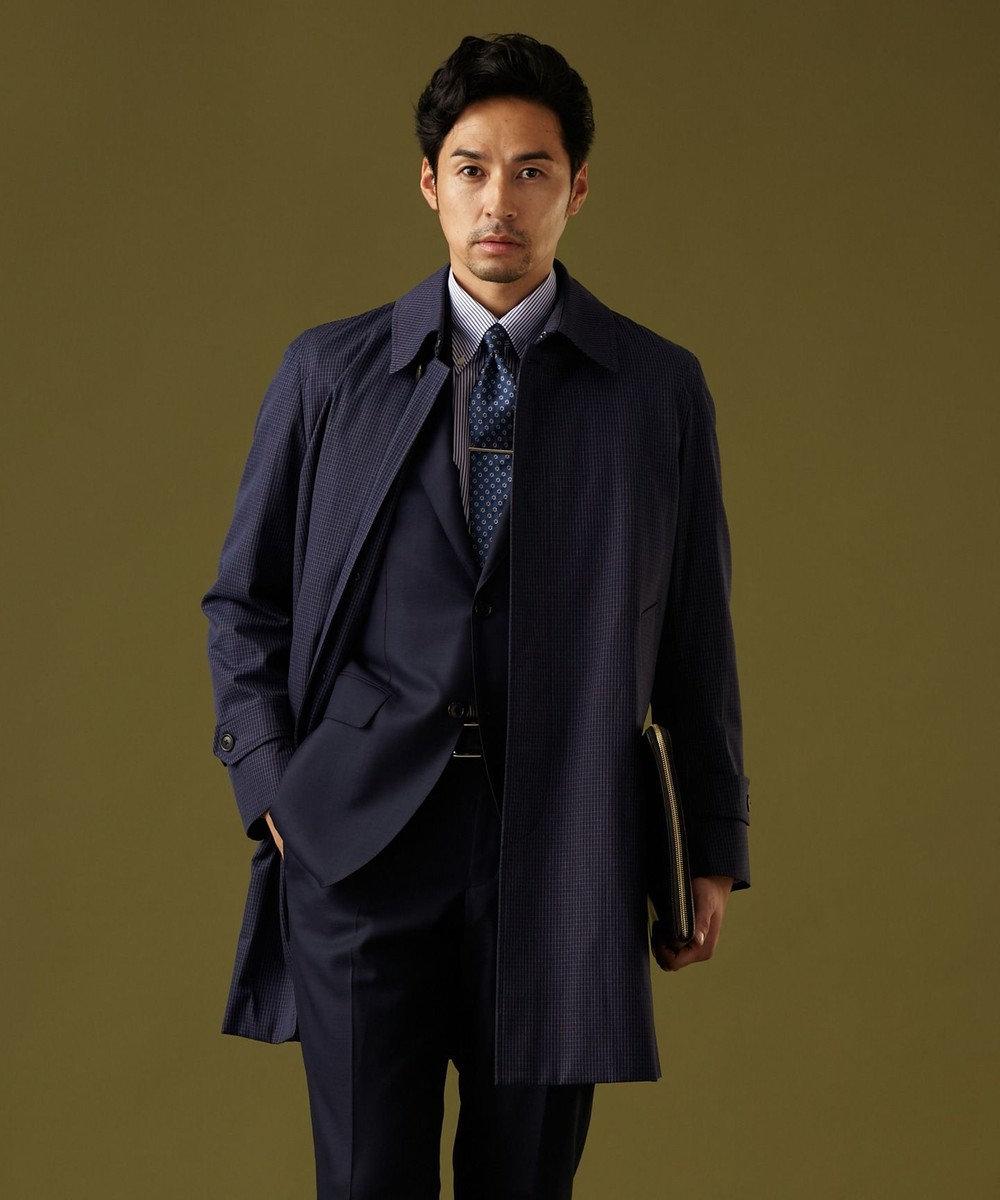 J.PRESS MEN ステンカラー チェック コート ネイビー系8
