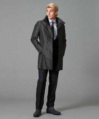 CK CALVIN KLEIN MEN 【3WAY】ハードメモリーブロックドビー スタンドカラー コート グレー系