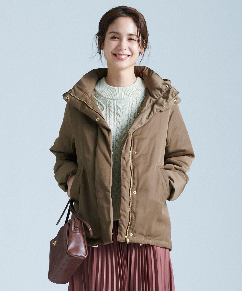 any FAM L 【洗える】ソロナファイバー 中綿ジャケット キャメル系