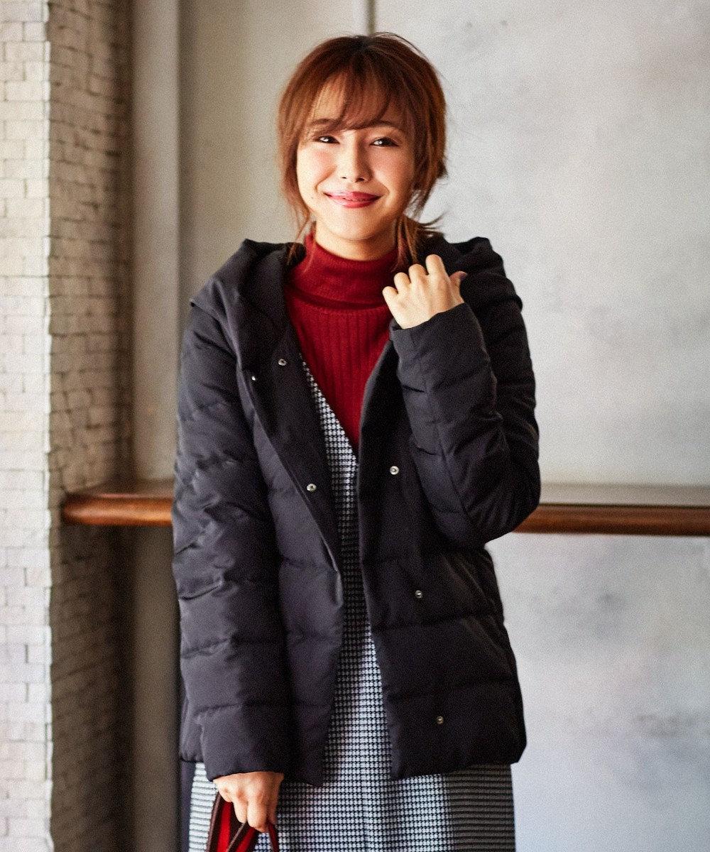 any FAM 【洗える】ヘリンボン&グログラン ダウンコート ブラック系