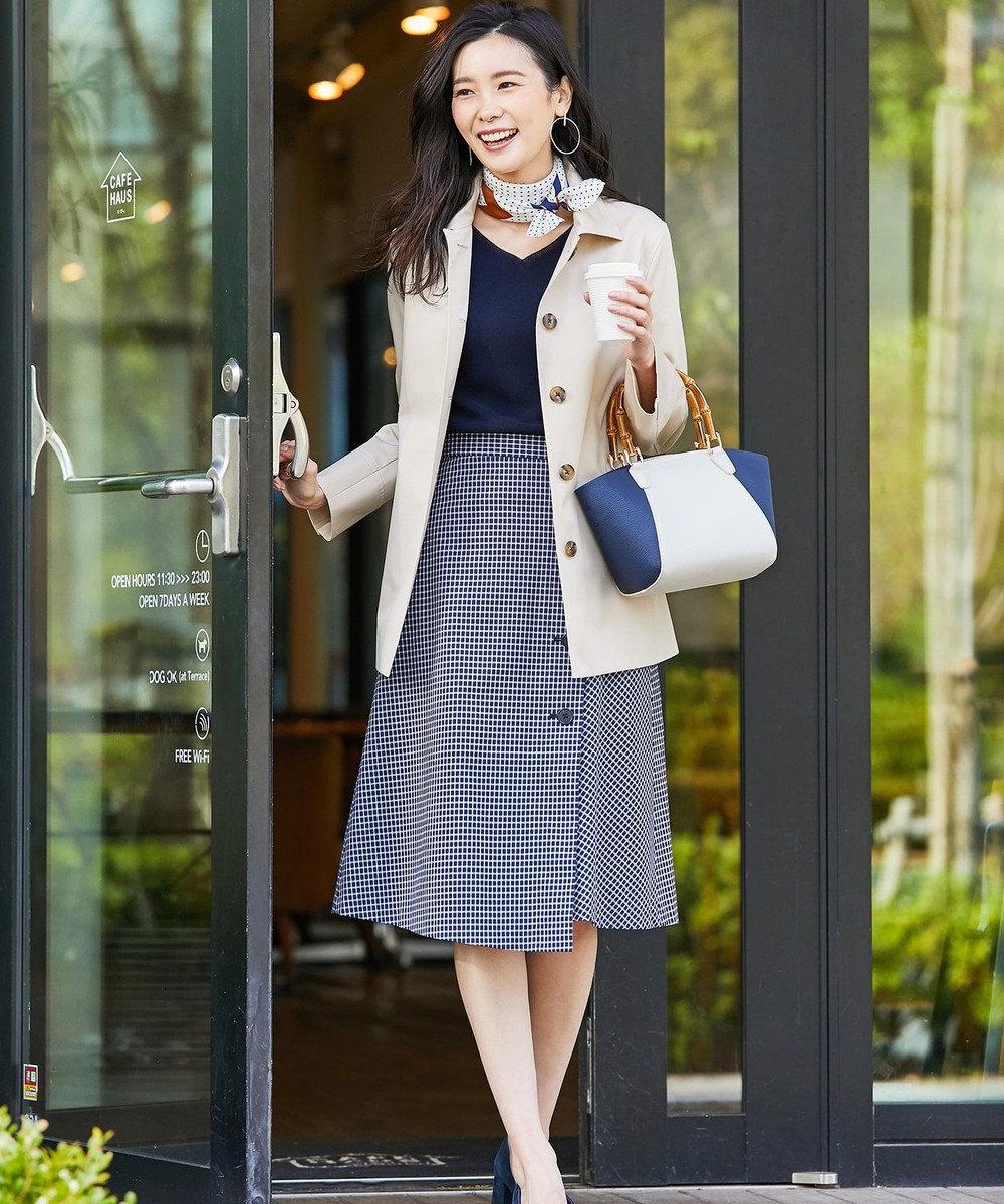 J.PRESS LADIES S 【撥水・花粉防止加工】ギザコーマツイル ショート ステンカラーコート ベージュ系