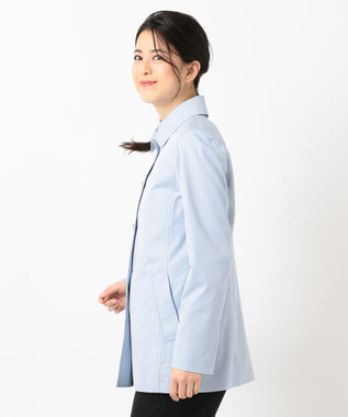 J.PRESS LADIES S 【撥水・花粉防止加工】ギザコーマツイル ショート ステンカラーコート サックスブルー系