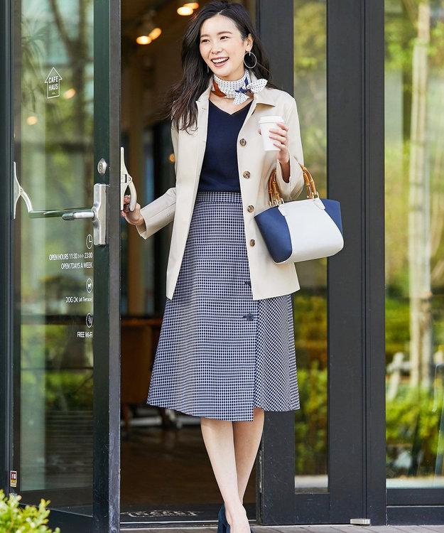 J.PRESS LADIES S 【撥水・花粉防止加工】ギザコーマツイル ショート ステンカラーコート
