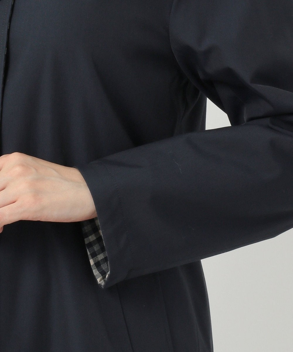 J.PRESS LADIES 【撥水加工】ヴェルダムシャンブレーリバー ステンカラーコート ネイビー系
