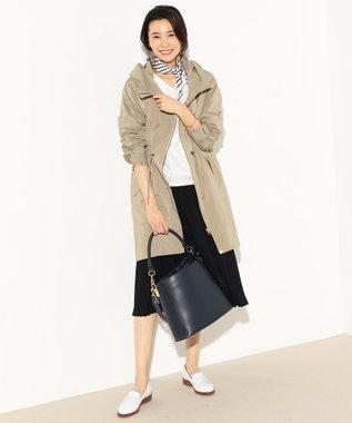 J.PRESS LADIES L 【洗える】NEW GU フード付きロング丈ブルゾン ベージュ系