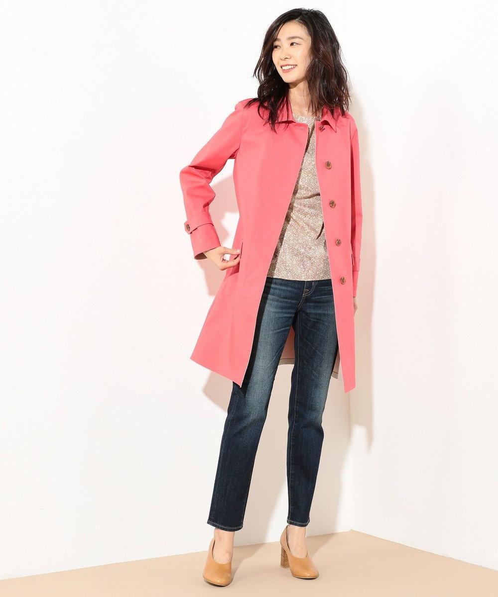 J.PRESS LADIES L 【定番人気】ボンデッドコーティング ステンカラーコート ピンク系