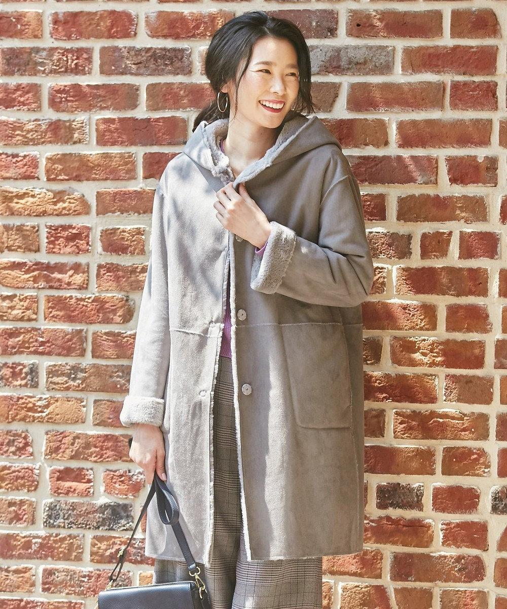J.PRESS LADIES L 【軽くて暖かい】ECOムートン コート ライトグレー系
