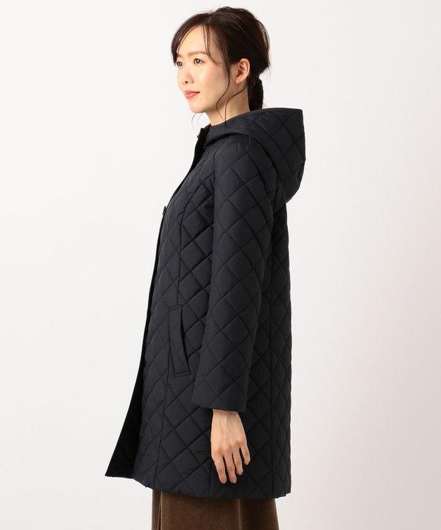 J.PRESS LADIES キルテッドマイクロタフタ無地 ロング丈コート