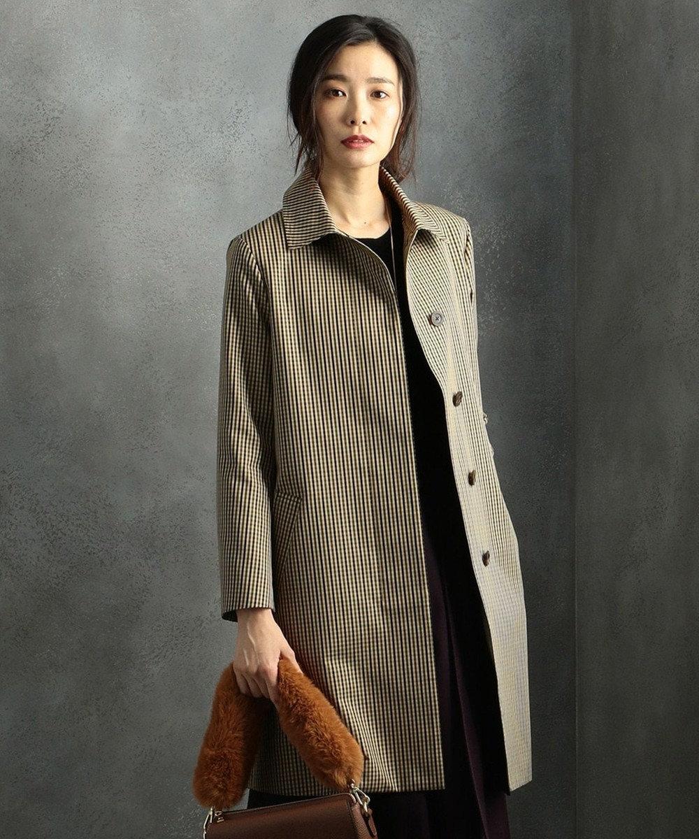 J.PRESS LADIES L 【ライナー付】T/Cガンクラブチェック ステンカラー コート ブラウン系3
