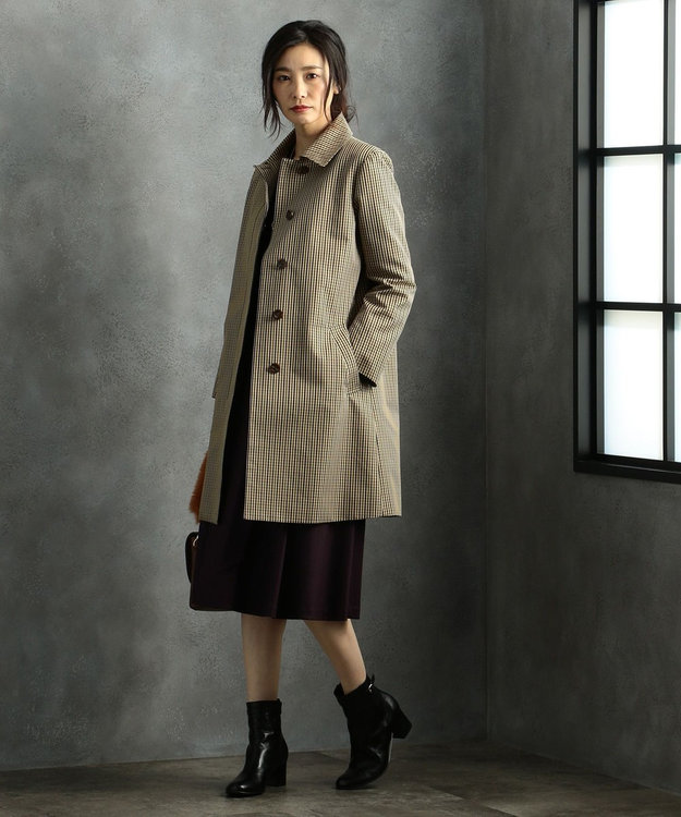 J.PRESS LADIES L 【ライナー付】T/Cガンクラブチェック ステンカラー コート