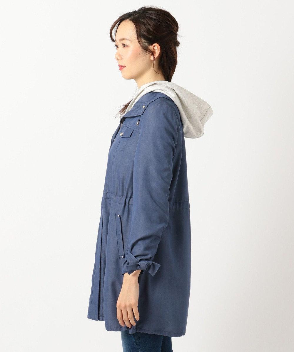 Feroux 【3WAY】パーカー付キャンディスリーブ モッズコート ダルブルー系