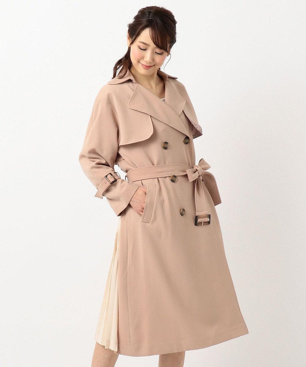 Feroux 【トレンド】バックプリーツ トレンチコート ベージュ系