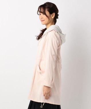 Feroux 【2SET】パーカーコンビライトモッズ コート ピンク系