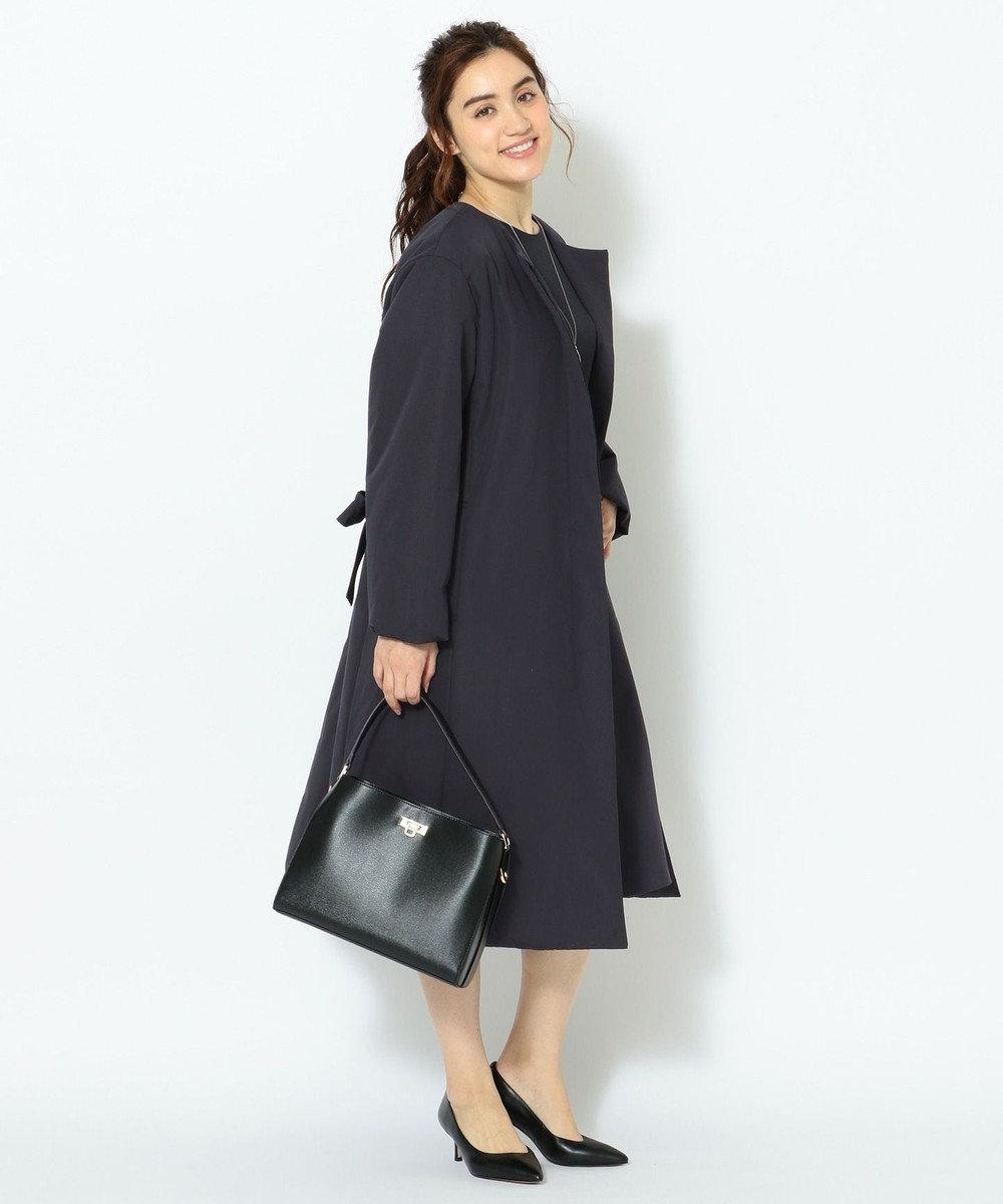 23区 L 【撥水加工】グログランパフィー 中綿コート ネイビー系