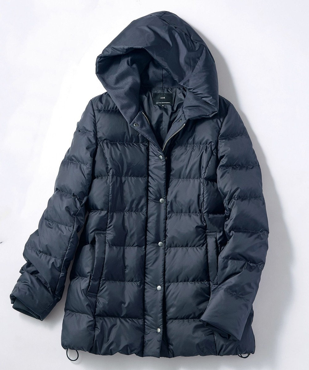 23区 【洗える】シレータフタ フーデッドダウン コート ブラック系