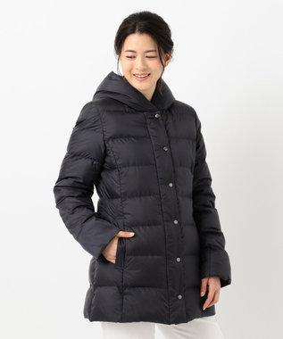 23区 【洗える】シレータフタ フーデッドダウン コート ネイビー系