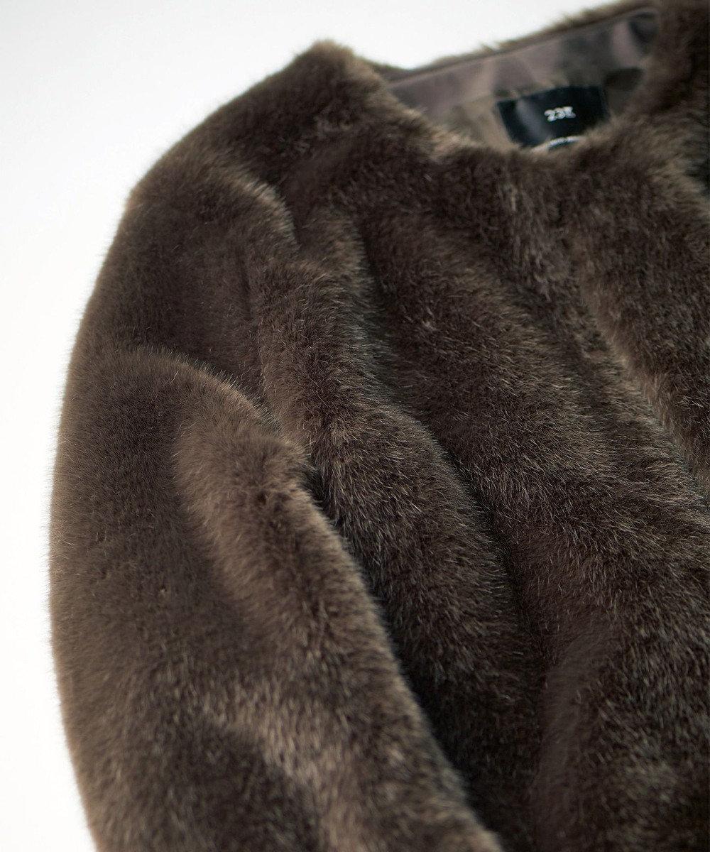 23区 L 【マガジン掲載】エコファーノーカラーショートコート(検索番号K25) ブラウン系
