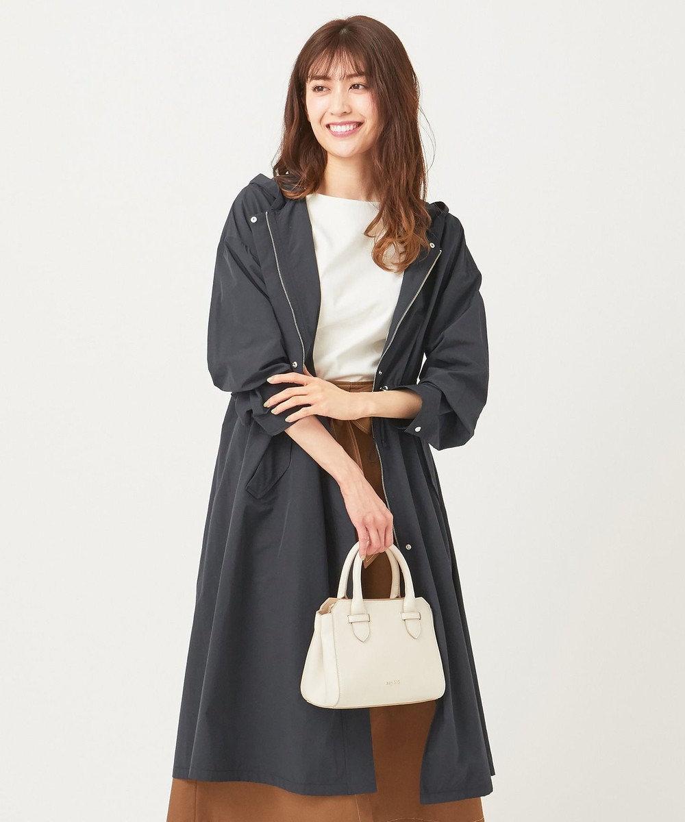 any SiS 【洗える】ロングギャザーライト モッズコート ネイビー