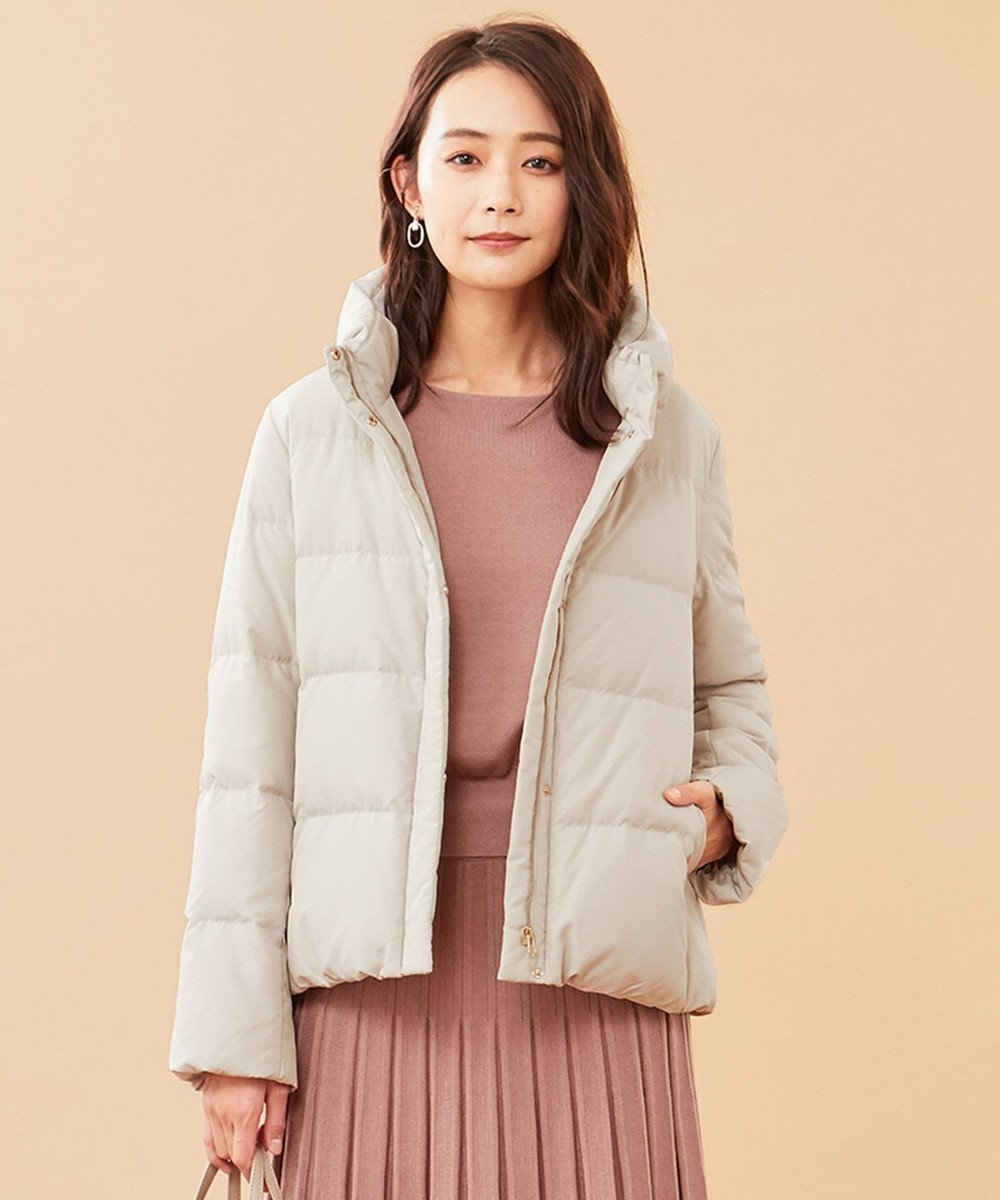 any SiS L 【洗える】スタンドカラーショート ダウン アイボリーベージュ