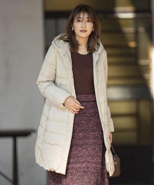組曲 【洗える】ナイロンタフタ ロングダウンコート ベージュ系