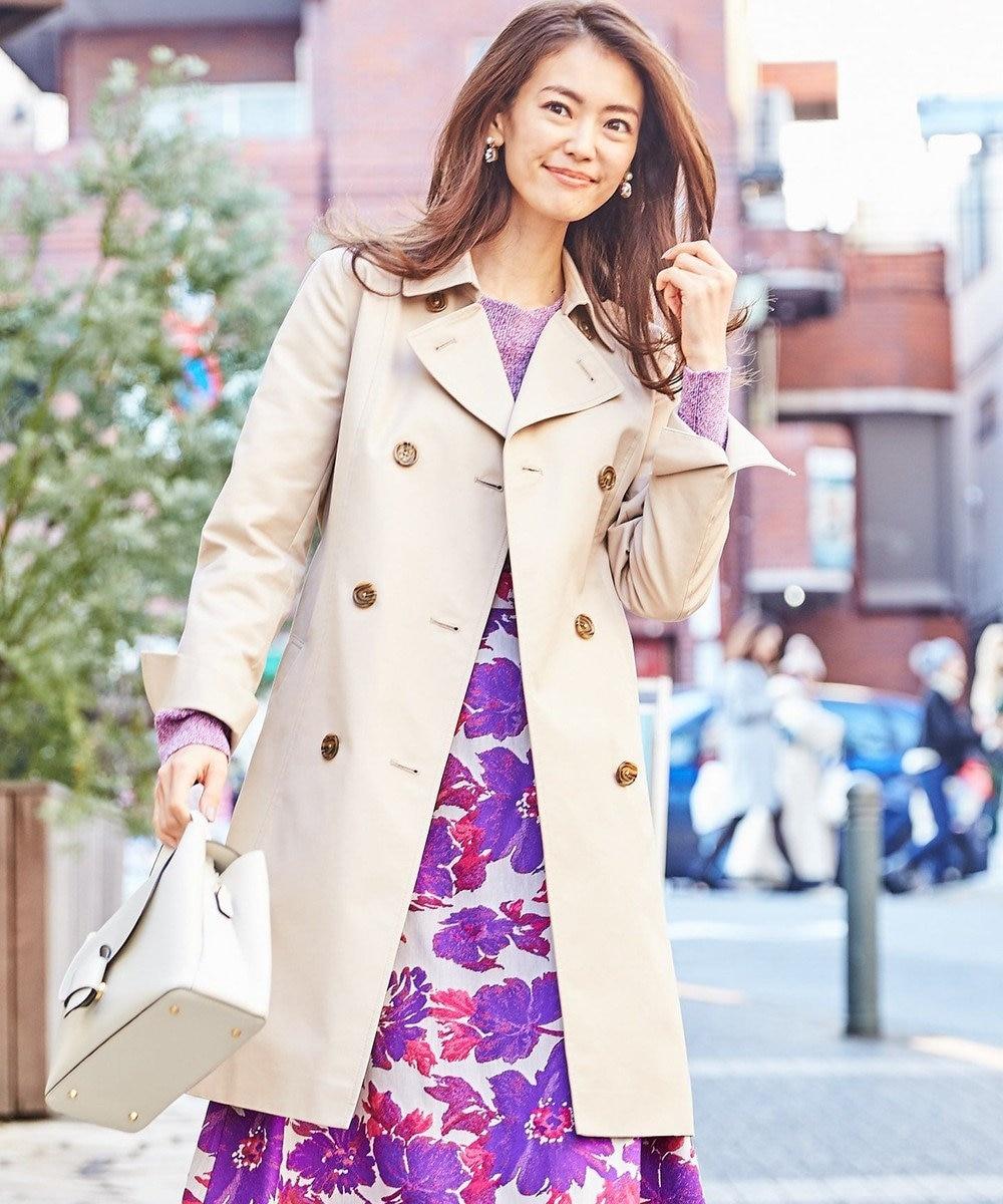 組曲 【撥水加工・花粉ガード】ダブルロングトレンチ コート アイボリー系
