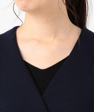 組曲 L T/Rダンボールニット Vネックコート ネイビー系