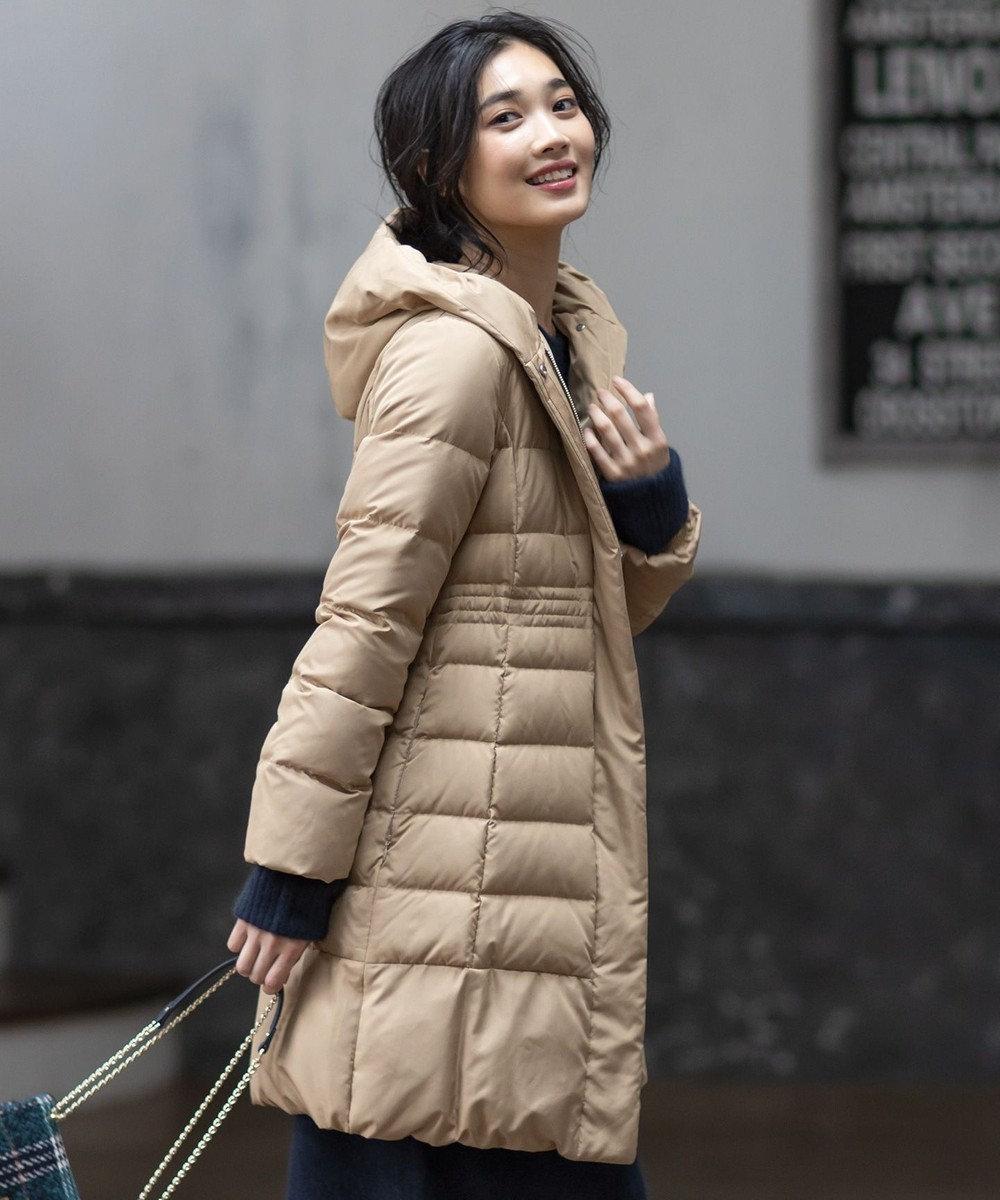 組曲 【洗える】ライトタフタダウン ロングコート ネイビー系