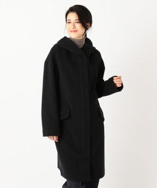 自由区 MENCHI ウールビーバーフード付きコート ブラック