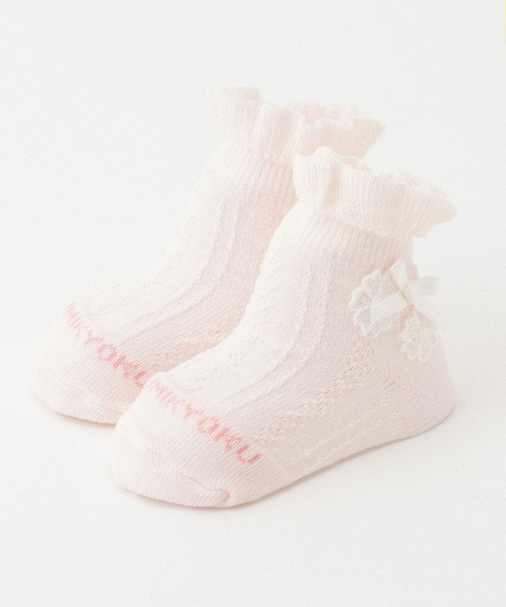 組曲 KIDS 【BABY雑貨】シルケット加工レース付 ソックス (11~13cm) ピンク系