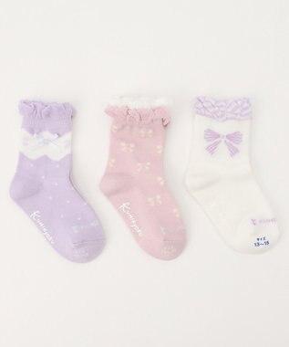 組曲 KIDS 【KIDS雑貨】3Pソックス (13~21cm) ピンク系5