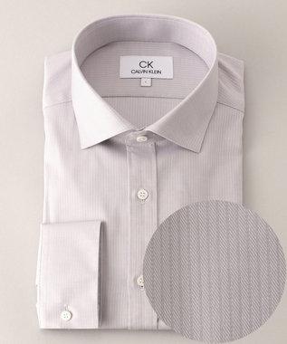 CK CALVIN KLEIN MEN 【形態安定】リファインドシャドウストライプ シャツ ライトグレー系1