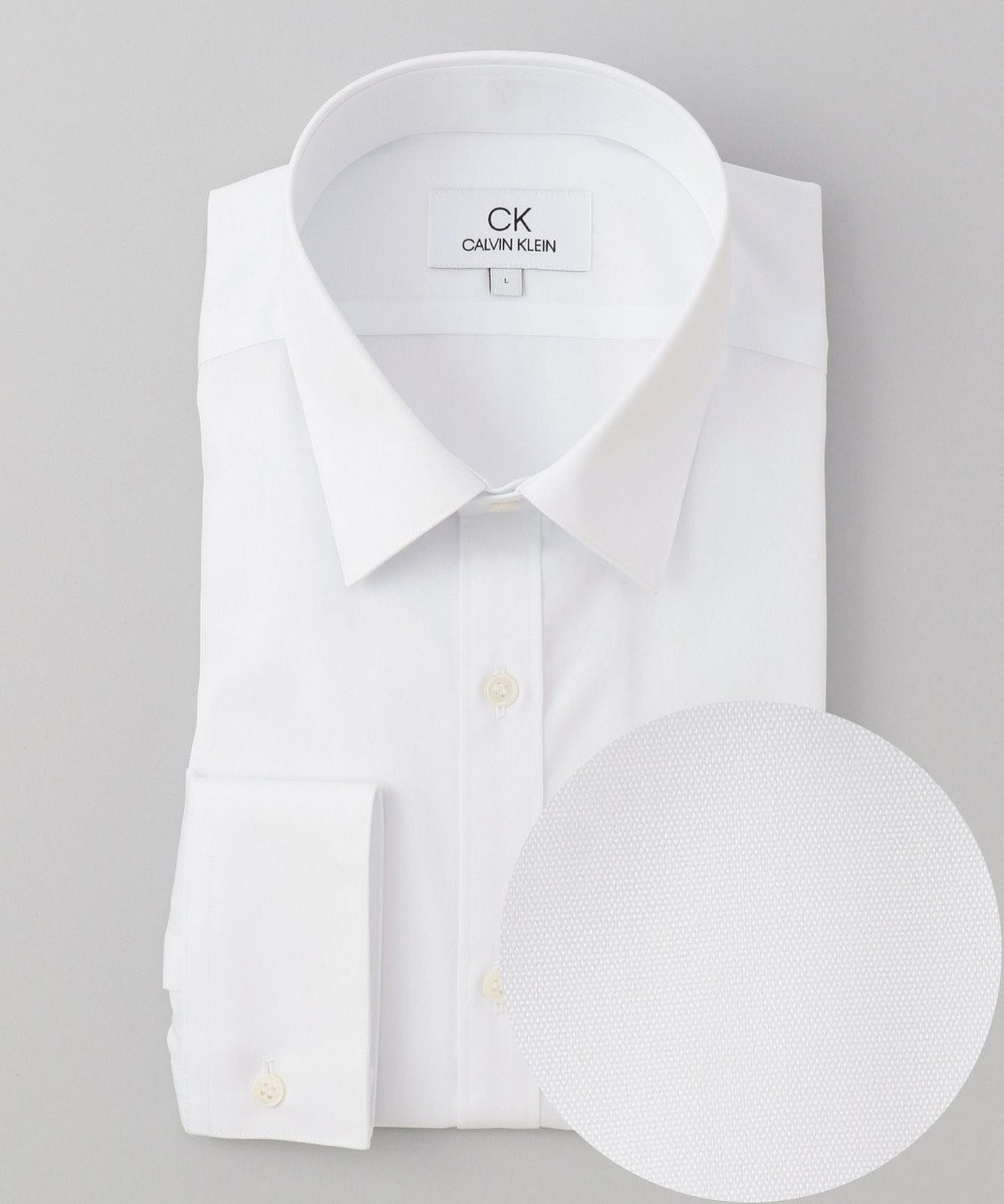 CK CALVIN KLEIN MEN 【形態安定】リファインドポプリン シャツ / レギュラーカラー ホワイト系