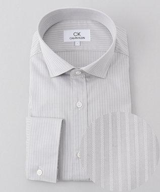 CK CALVIN KLEIN MEN 【形態安定】リファインドシャドーストライプ シャツ ライトグレー系1