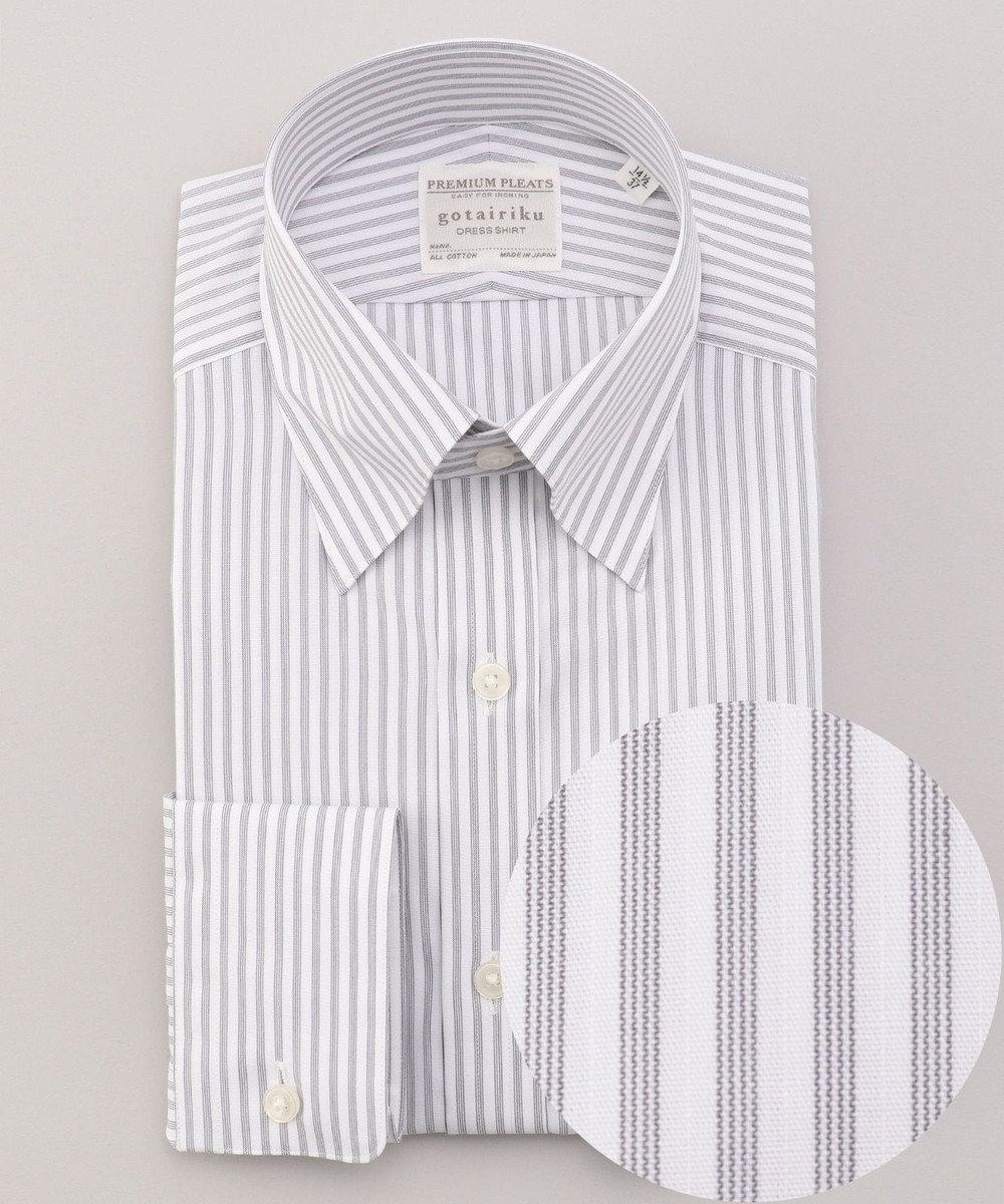 GOTAIRIKU 【形態安定】PREMIUMPLEATS ドレスシャツ / スナップボタンカラー グレー系1