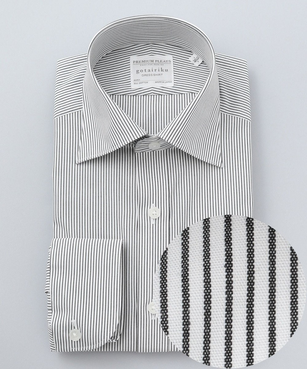 GOTAIRIKU 【形態安定】PREMIUMPLEATS ドレスシャツ / セミワイドカラー ブラックST ブラック系1