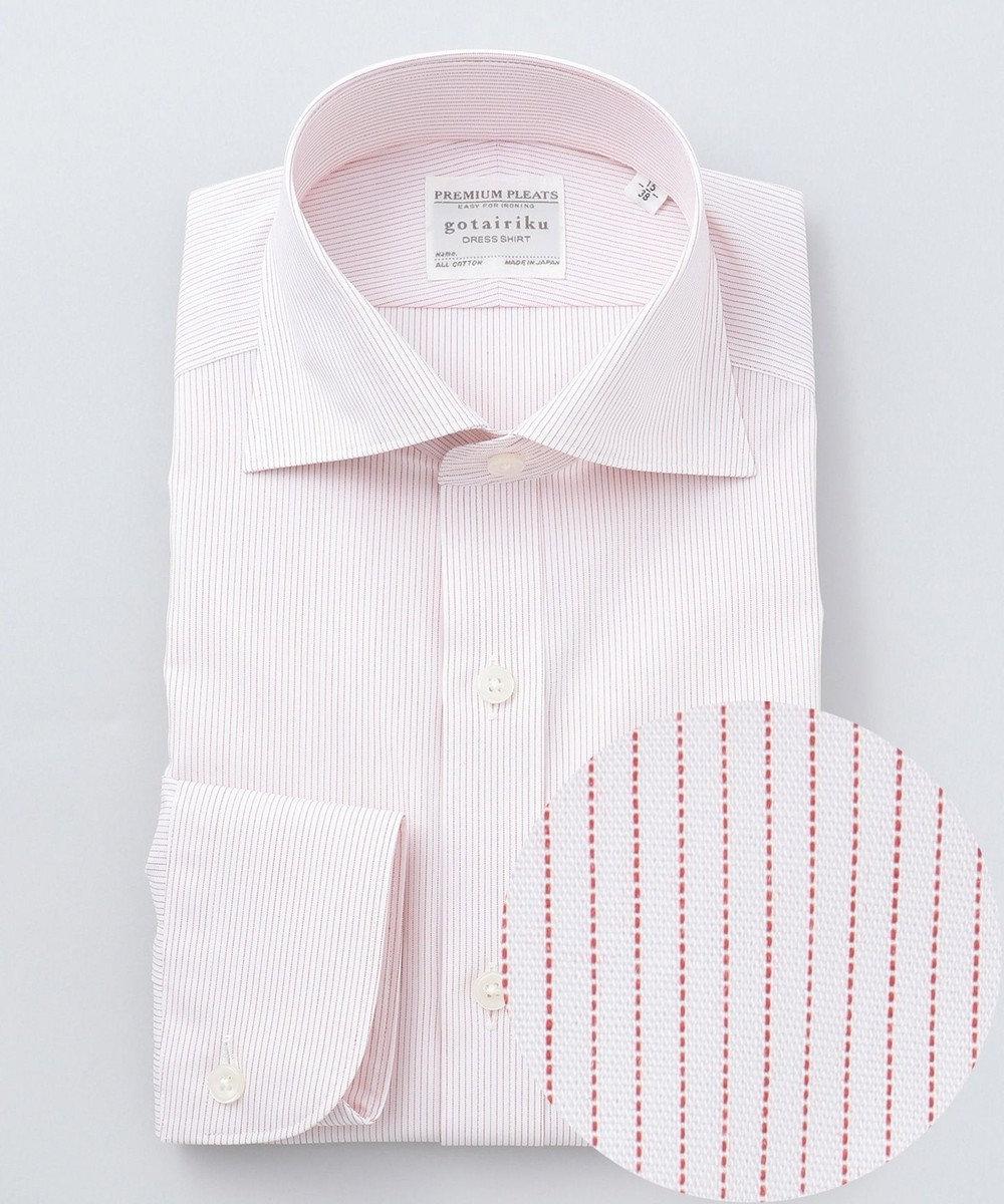 GOTAIRIKU 【形態安定】PREMIUMPLEATS ドレスシャツ / ワイドカラー レッドST レッド系1