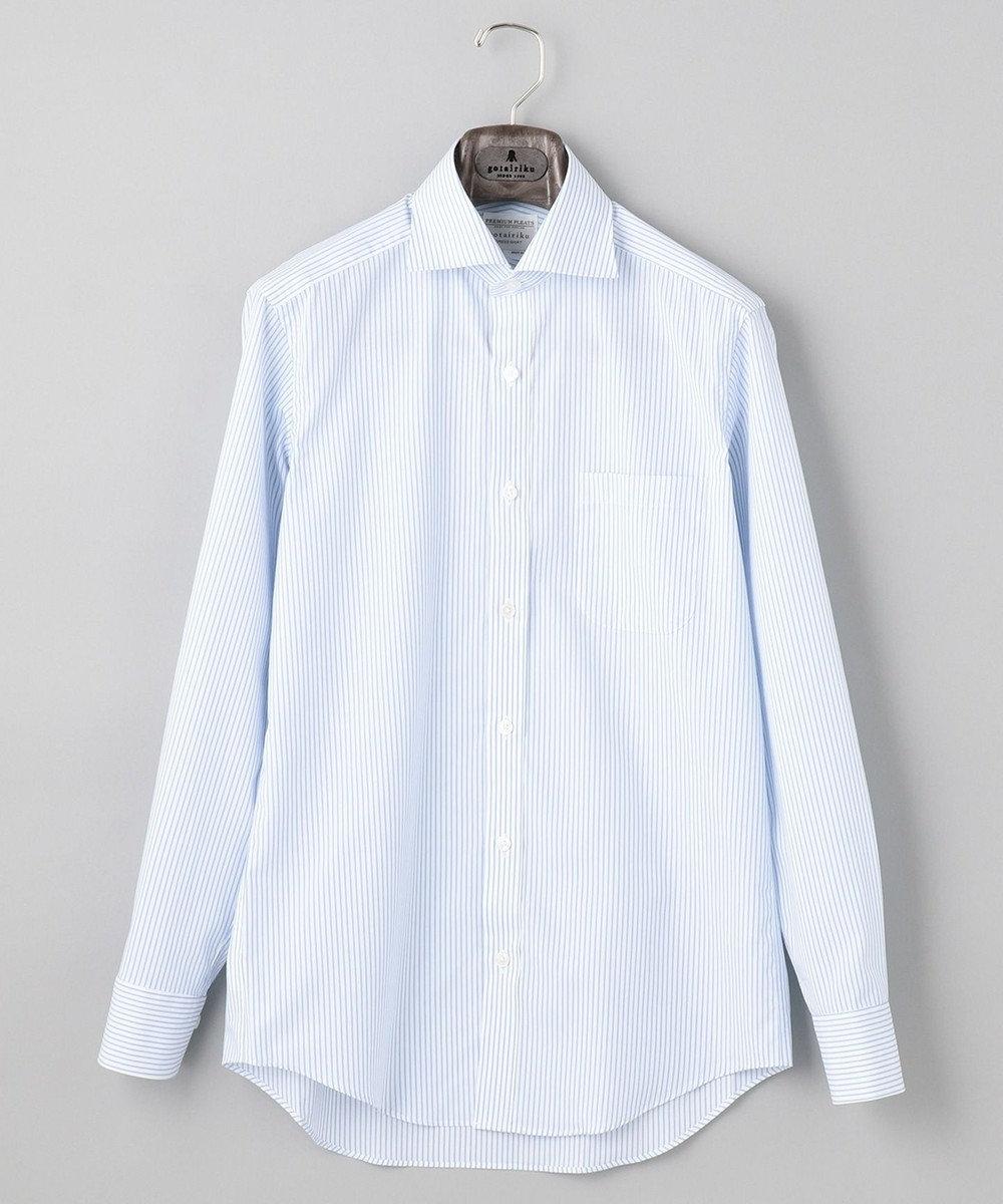 GOTAIRIKU 【定番】PREMIUMPLEATS_サックスストライプ_ワイドカラー シャツ サックスブルー系1