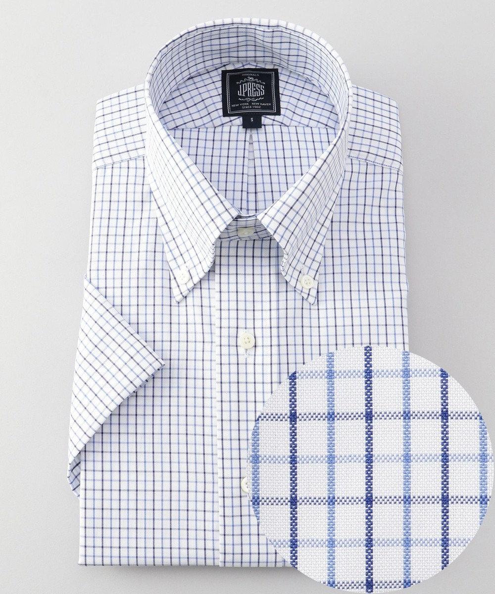 J.PRESS MEN 【PREMIUM PLEATS/ 形態安定】タッターソールチェック半袖シャツ/ B.D. ネイビー系3
