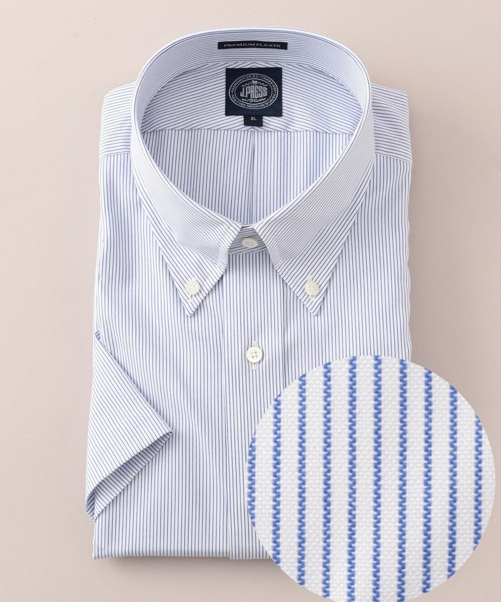 J.PRESS MEN 【キングサイズ】プレミアムプリーツ マイクロストライプ 半袖 シャツ ネイビー系1