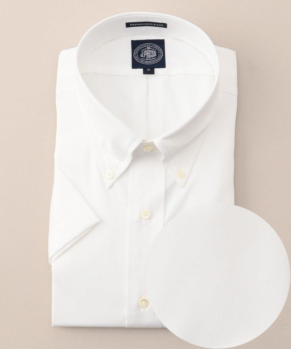 J.PRESS MEN 【キングサイズ】プレミアムプリーツピンオックス 半袖BDシャツ ホワイト系