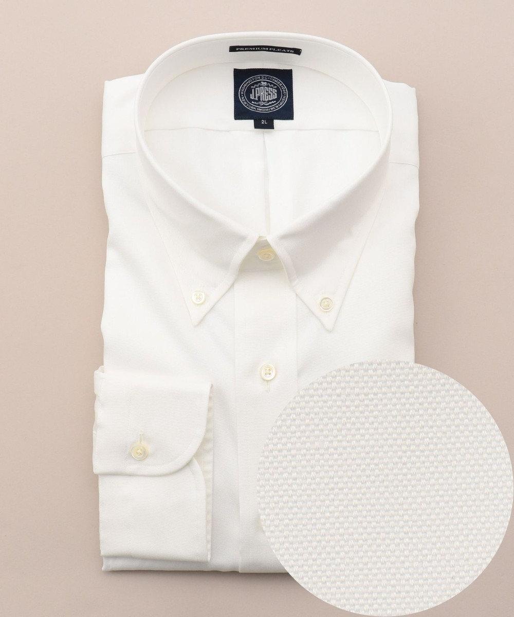 J.PRESS MEN 【キングサイズ】プレミアムプリーツピンオックスBDシャツ ホワイト系