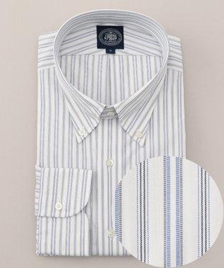 J.PRESS MEN 【キングサイズ】PREMIUM PLEATS オルタネートストライプ シャツ ネイビー系1