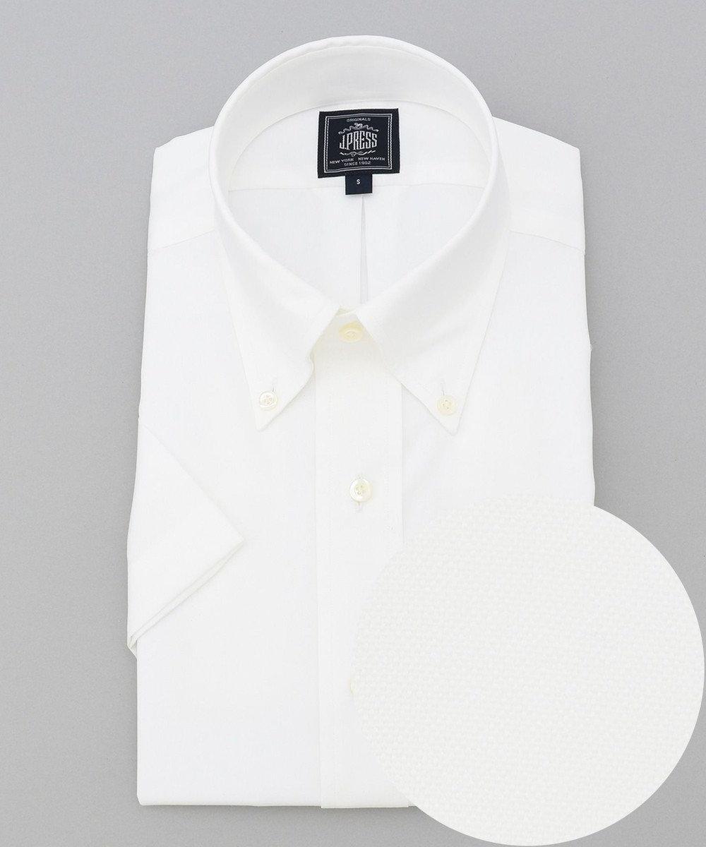 J.PRESS MEN 【PREMIUM PLEATS / 形態安定】ピンオックス 半袖シャツ / B.D. ホワイト系