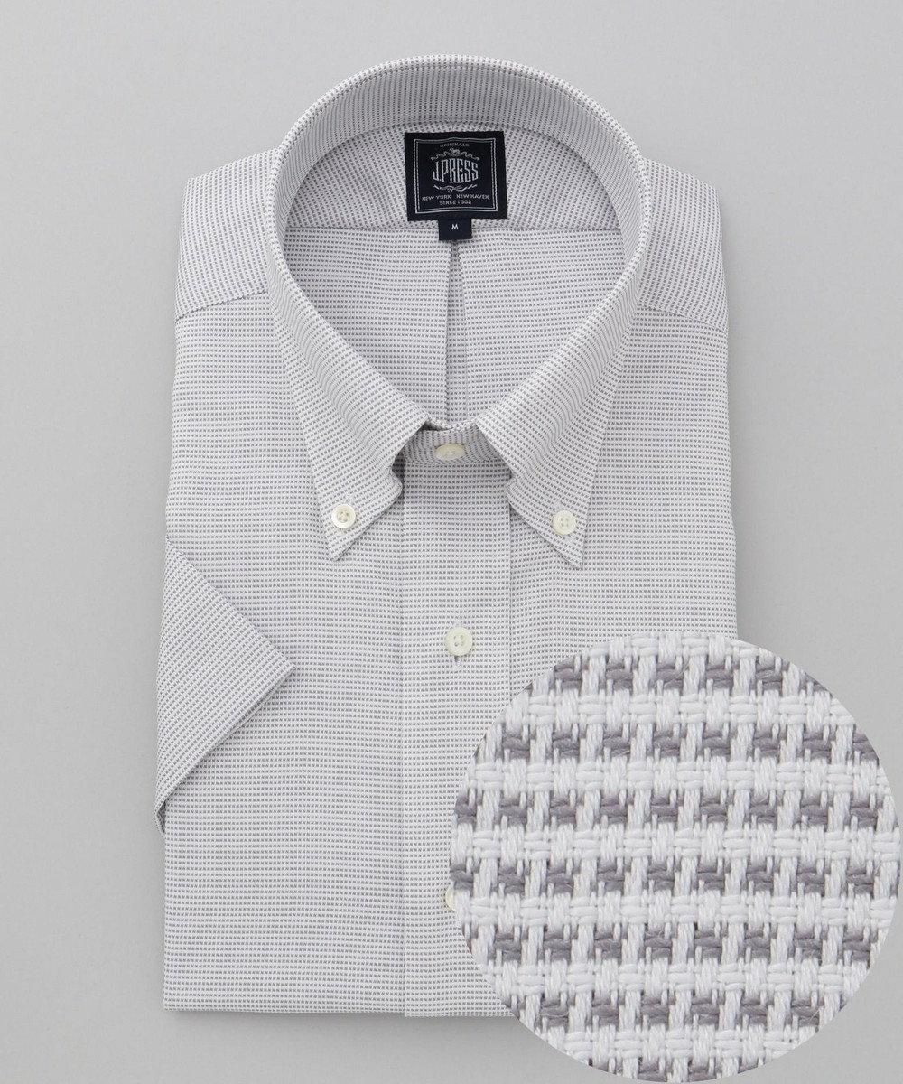 J.PRESS MEN 【PREMIUM PLEATS / 形態安定】ピンヘッド 半袖シャツ / B.D ライトグレー系