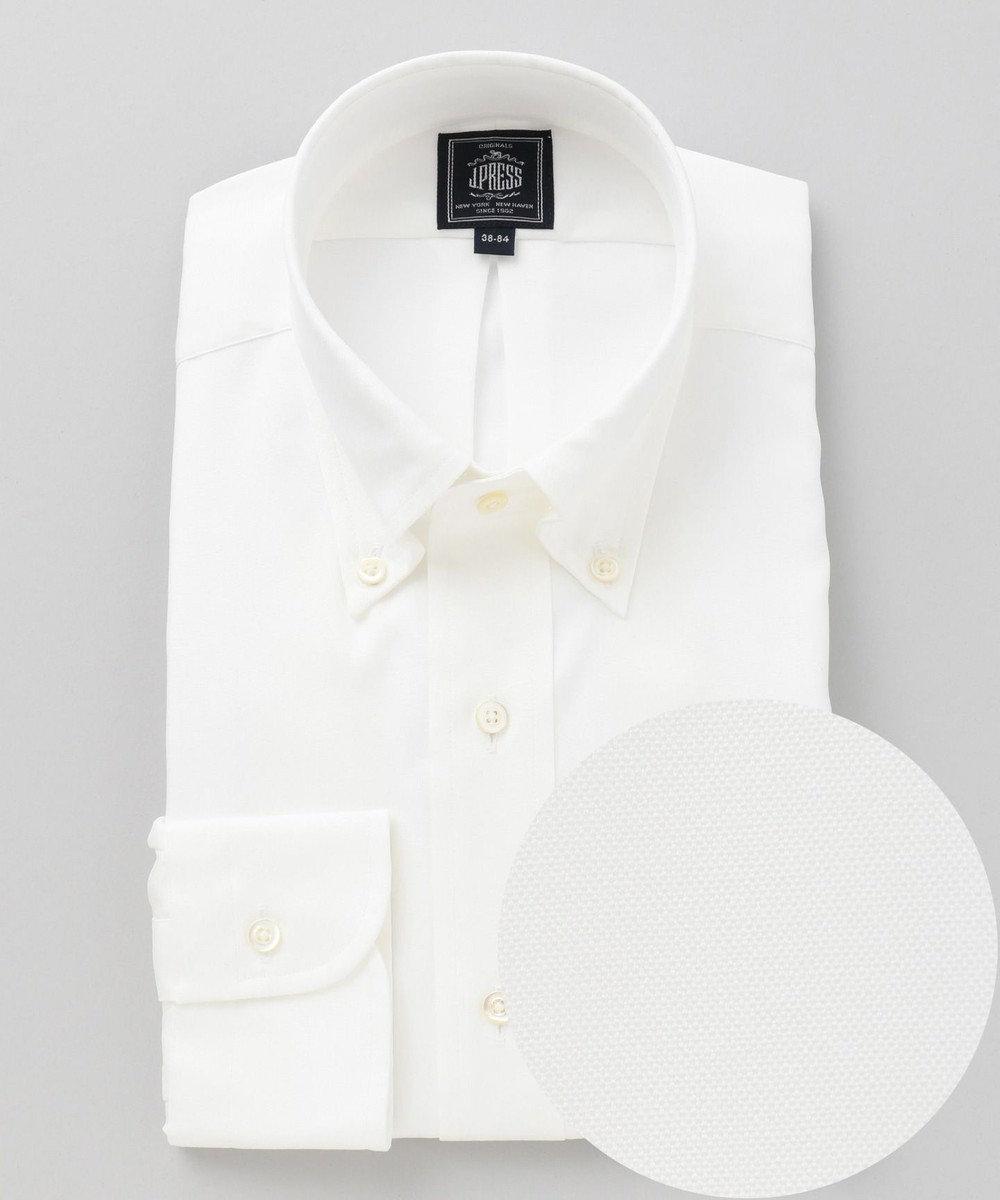 J.PRESS MEN 【形態安定】PREMIUM PLEATS / ピンオックスボタンダウン シャツ ホワイト系