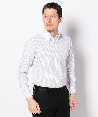 J.PRESS MEN 【PREMIUM PLEATS】エンドオンエンドストライプ シャツ ライトグレー系1