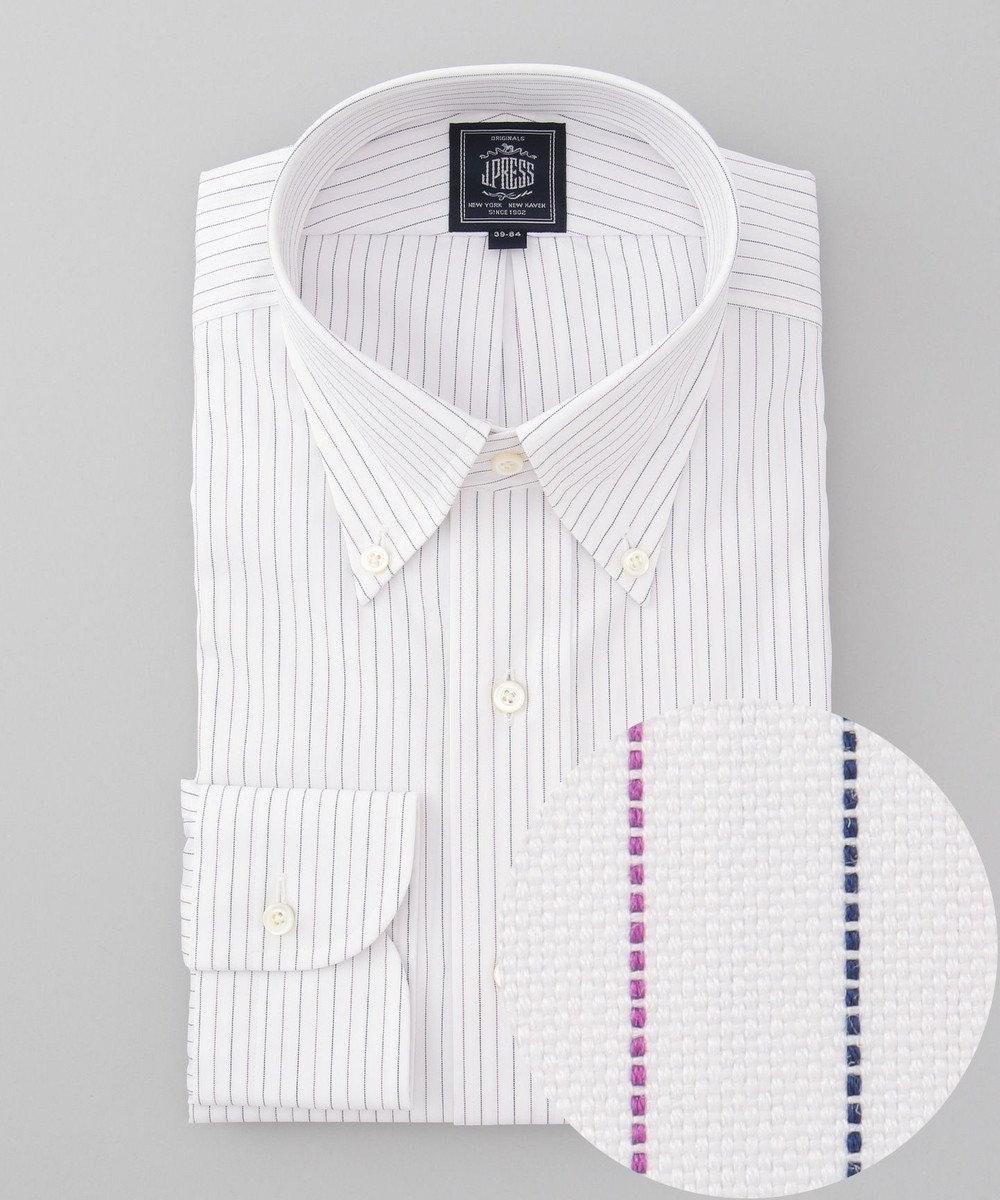 J.PRESS MEN 【形態安定】PREMIUM PLEATS / オルタネートストライプ ボタンダウンシャツ パープル系1