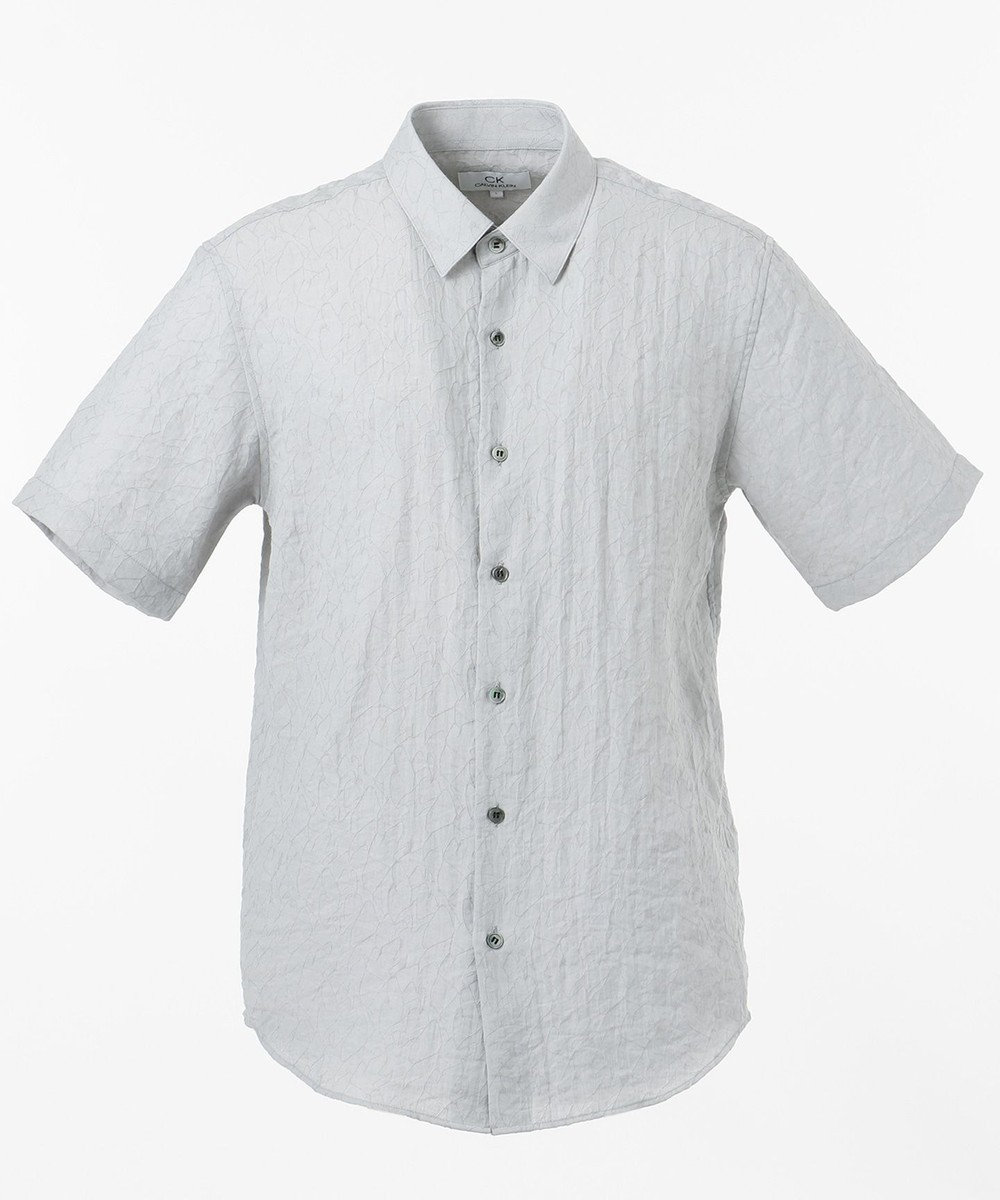 CK CALVIN KLEIN MEN シャドウライナーガーゼ 半袖シャツ / レギュラーカラー ライトグレー系