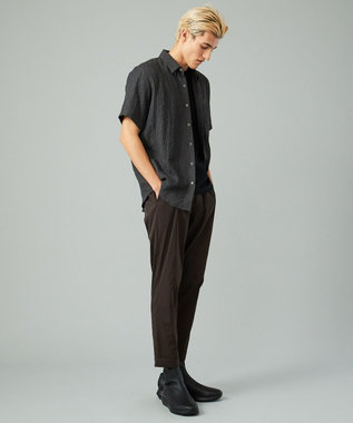 CK CALVIN KLEIN MEN シャドウライナーガーゼ 半袖シャツ / レギュラーカラー ブラック系